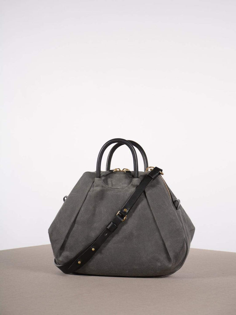 hoi bo grey waxed canvas purse with black leather handles and strap made in Canada