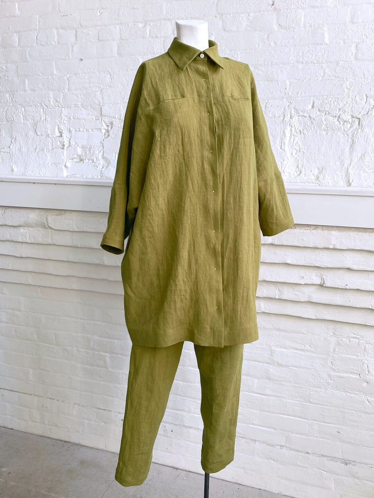 Linen Button Up Shirt Dress in Kohl