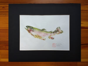 Rainbow trout original gyotaku. 16x20