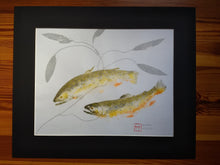 Load image into Gallery viewer, Double Brook trout and pondweed original gyotaku. 20x24