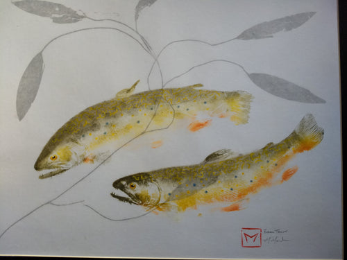 Double Brook trout and pondweed original gyotaku. 20x24