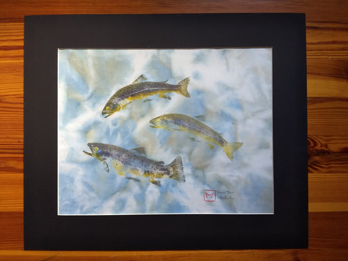 Brown Trout Trio. Original Gyotaku. 24x20