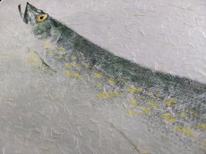 Northern Pike Original Gyotaku. 28x20