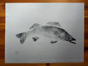 Walleye Original Gyotaku 24x36