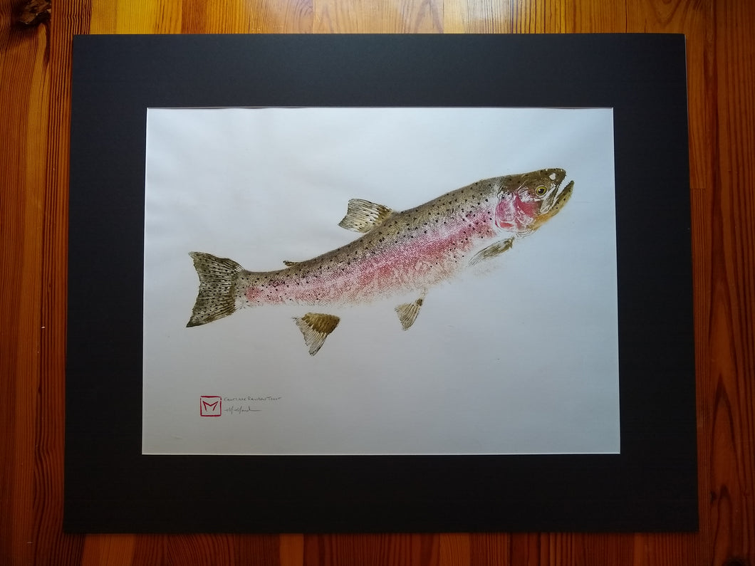 Eagle Lake Rainbow Trout Original Gyotaku. 24x30