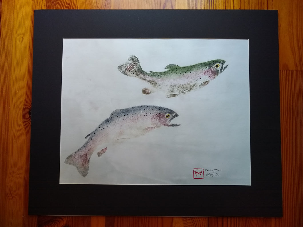 Double Rainbow trout original gyotaku. 20x24