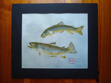 Load image into Gallery viewer, Brown Trout Pair. Original Gyotaku. 16x20