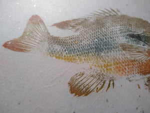 Redbreast Sunfish on Gold and Silver Leaf Chiri. 40x32 Original gyotaku.