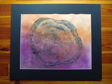 Load image into Gallery viewer, Original Woodcut Tree Ring Print on Hand-dyed Hemp Rice Paper (24x20)