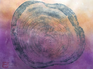 Original Woodcut Tree Ring Print on Hand-dyed Hemp Rice Paper (24x20)