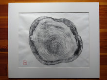 Load image into Gallery viewer, Original Woodcut Tree Ring Print on Hemp Rice Paper (24x20)