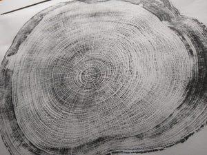 Original Woodcut Tree Ring Print on Hemp Rice Paper (24x20)