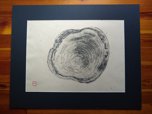 Original Woodcut Tree Ring Print on Chiri Rice Paper (24x30)