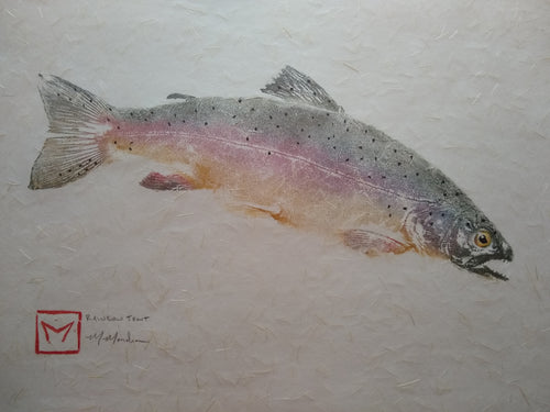 Rainbow trout on kinwashi original gyotaku. 16x20
