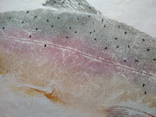 Load image into Gallery viewer, Rainbow trout on kinwashi original gyotaku. 16x20