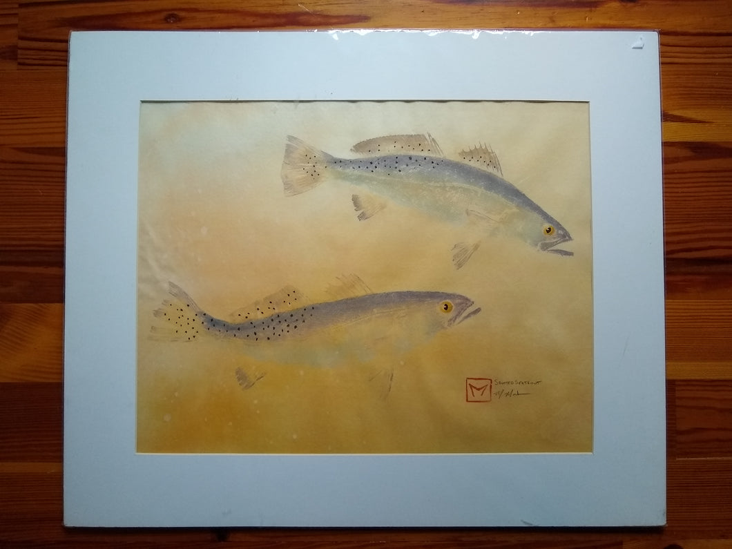 Spotted Speckled Sea Trout  Original Gyotaku 20x24