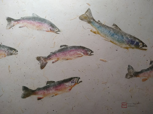 School of Brown and Rainbow Trout. Original gyotaku on chiri.  40x32