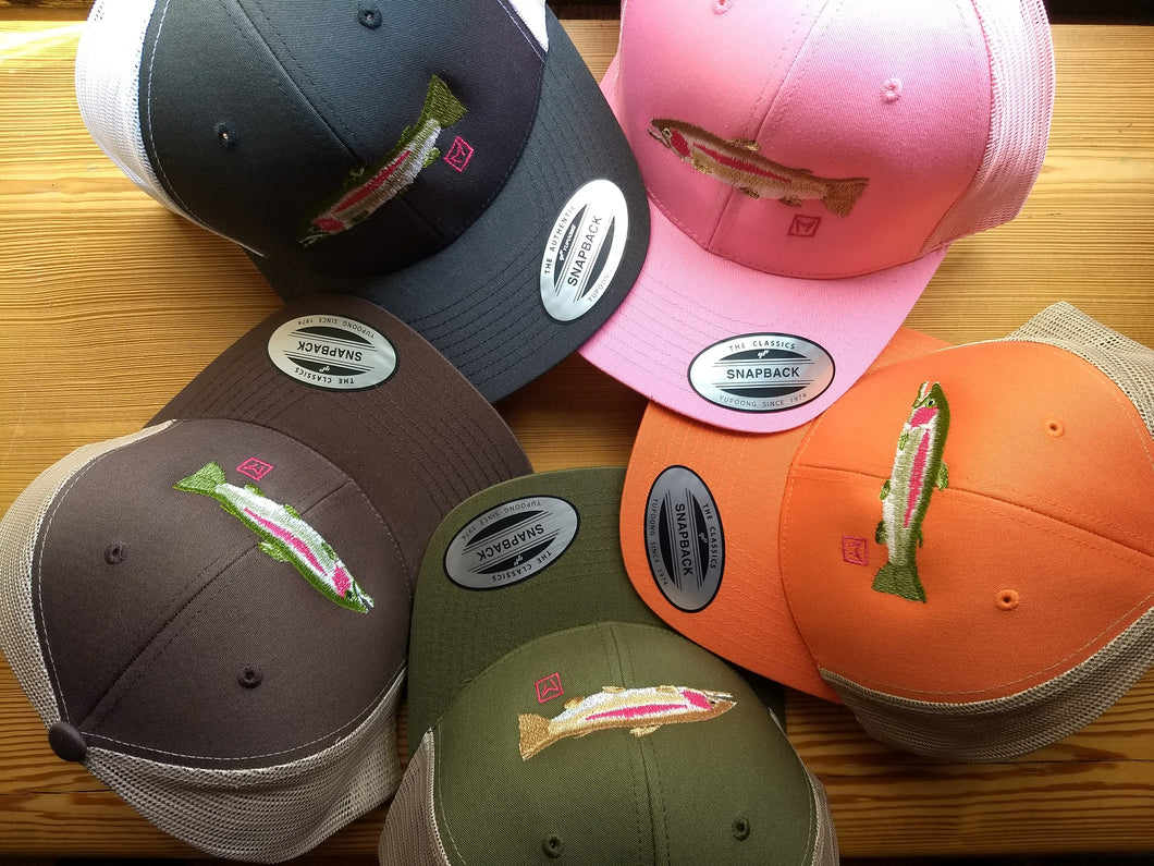 Rainbow Trout Snapback Trucker Hat. Image derived from an actual fish!