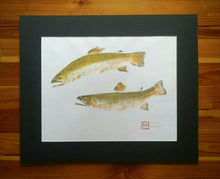 Load image into Gallery viewer, Original Brook Trout Gyotaku on Ma (Hemp) Rice Paper