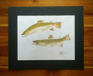 Original Brook Trout Gyotaku on Ma (Hemp) Rice Paper
