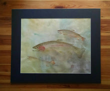 Load image into Gallery viewer, Original Rainbow and Brook Trout Gyotaku. Hand dyed rice paper. 30x36.