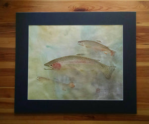 Original Rainbow and Brook Trout Gyotaku. Hand dyed rice paper. 30x36.