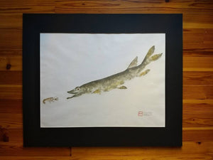 Northern Pike and Crayfish Original Gyotaku. Large 36x30.