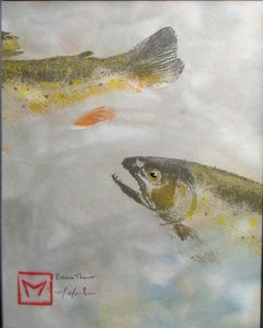 Original Brook Trout Gyotaku on hand-dyed rice paper. Framed and ready to hang.