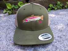 Load image into Gallery viewer, Rainbow Trout Snapback Trucker Hat. Image derived from an actual fish!