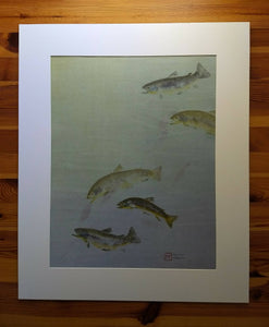 Original Brown Trout and American Pondweed Gyotaku on Hand-dyed Hemp Rice Paper. 24x30 actual print size.