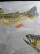 Load image into Gallery viewer, Original Brook Trout Gyotaku on hand-dyed rice paper. Framed and ready to hang.