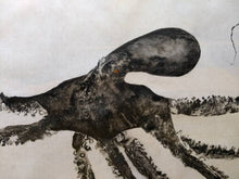 Load image into Gallery viewer, Octopus Original Gyotaku on Ma/Hemp Rice Paper. 56x32.