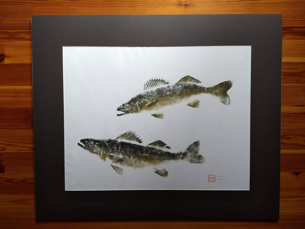 Tennessee Walleye Gyotaku Original Watts Bar