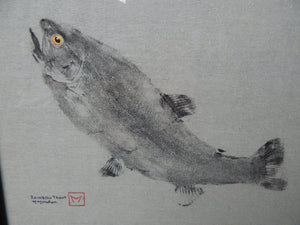 Rainbow Trout Gyotaku. Original. Framed.