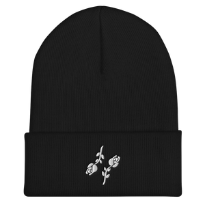 Cuffed Black Roses Beanie - Black Roses Playing Cards