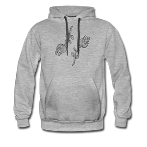 Grey Black Roses Hoodie - heather gray