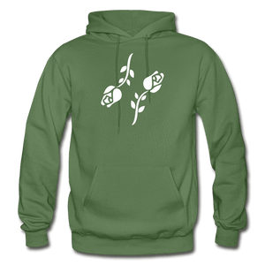 Black Roses Hoodie - military green
