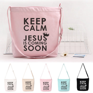 Keep Calm Jesus is Coming Canvas Shoulder Bag
