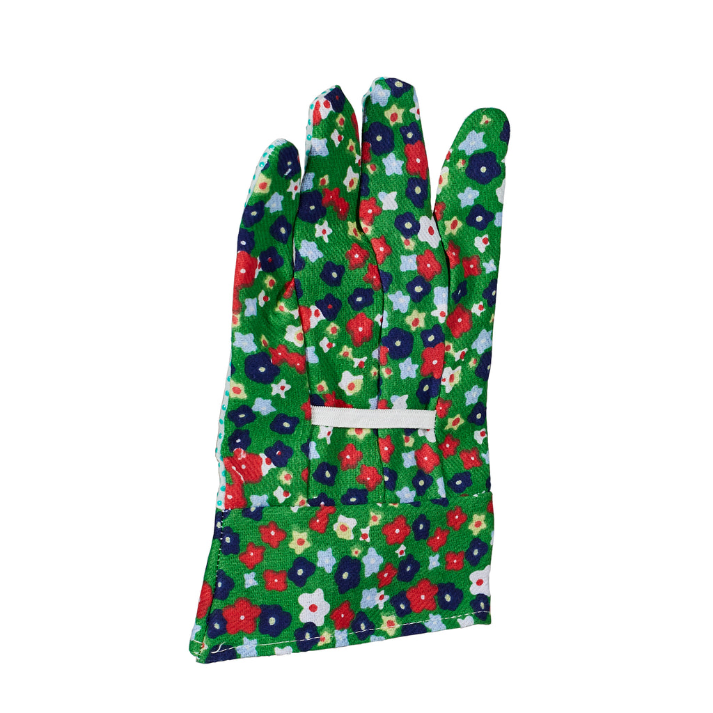 Green floral pattern ladies gardening gloves for women
