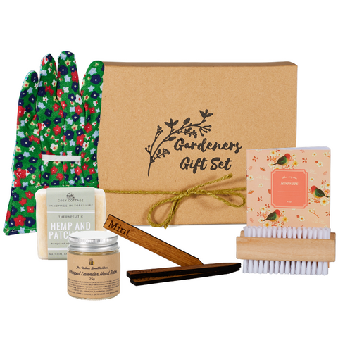 Image of Gardeners gift set with handmade hand balm soap seed planters notebook and gardening gloves