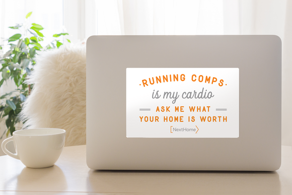 Laptop Decal- Running White