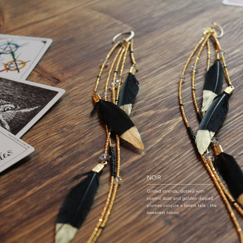 Noir - Gold Dipped Feather Earrings