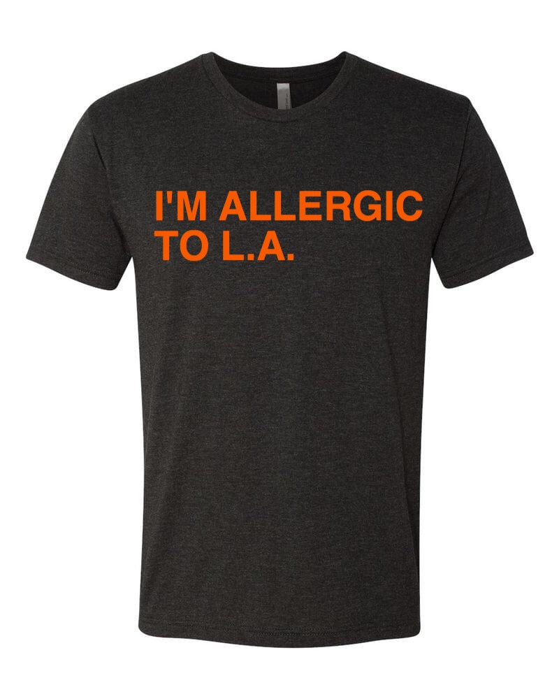 I'M ALLERGIC TO L.A. Black Unisex T-Shirt