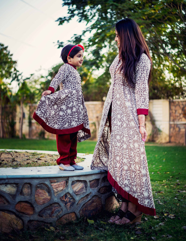 Block Printed Indian Ethnic Mother Daughter Dresses
