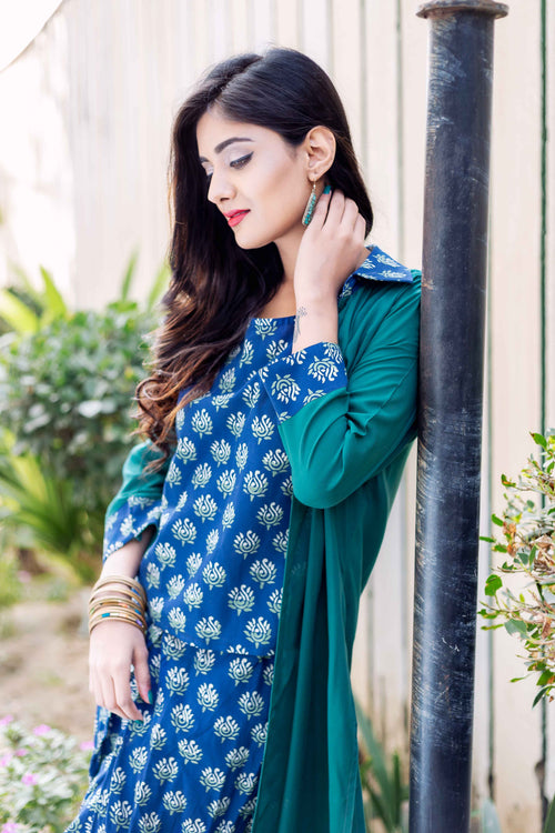 3 Piece Block Printed Sleeveless Top with Dhoti and Long Jacket