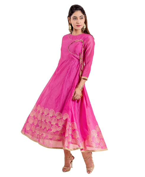 Angrakha Style Pink Chanderi Indian Block Printed Gown Dress
