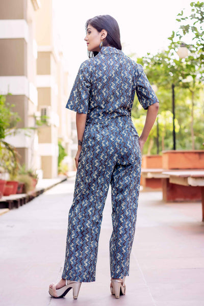 Block Printed Long cotton Jumpsuits for women online