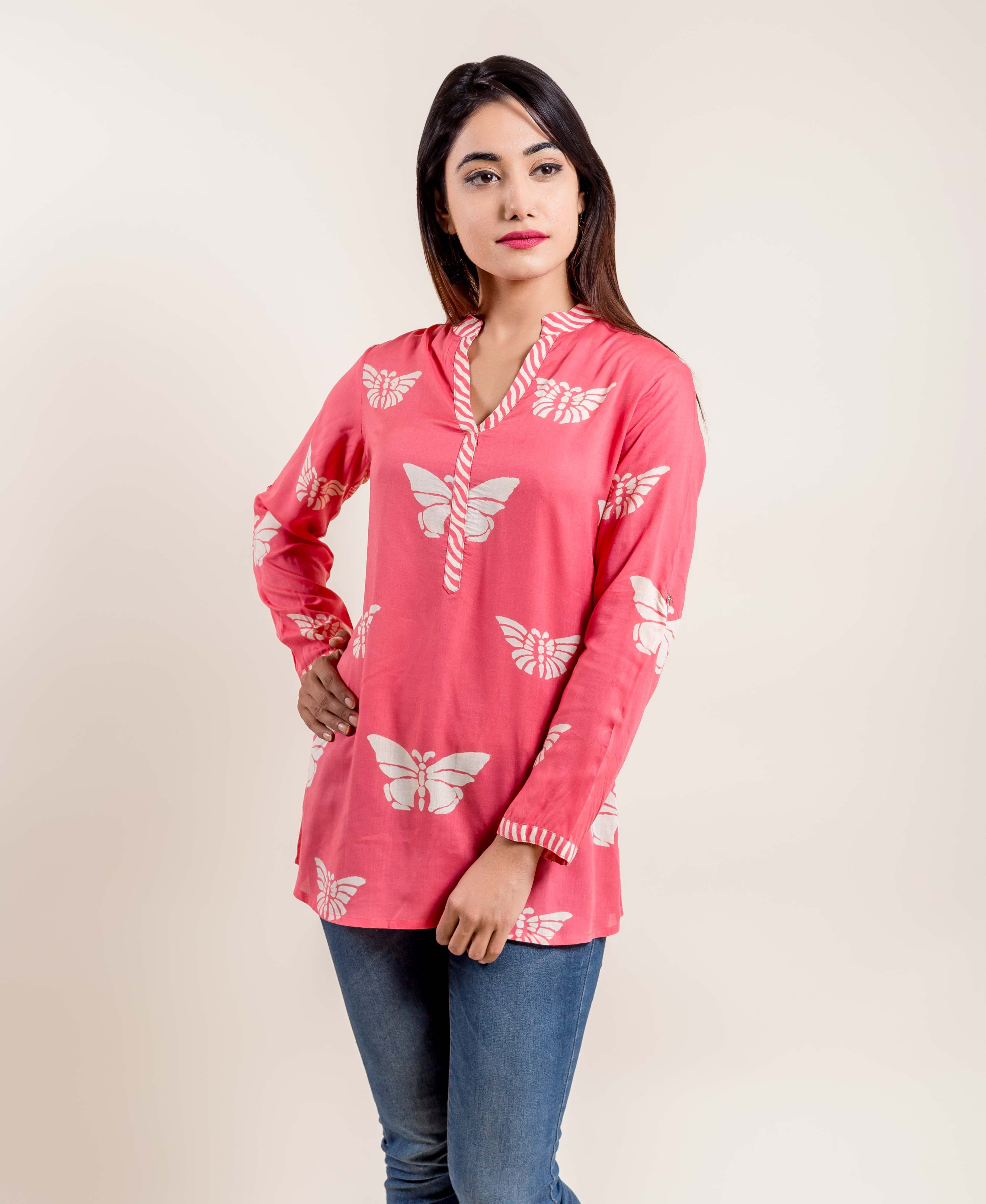 Butterfly Hand Block Printed White Short Ethnic Top
