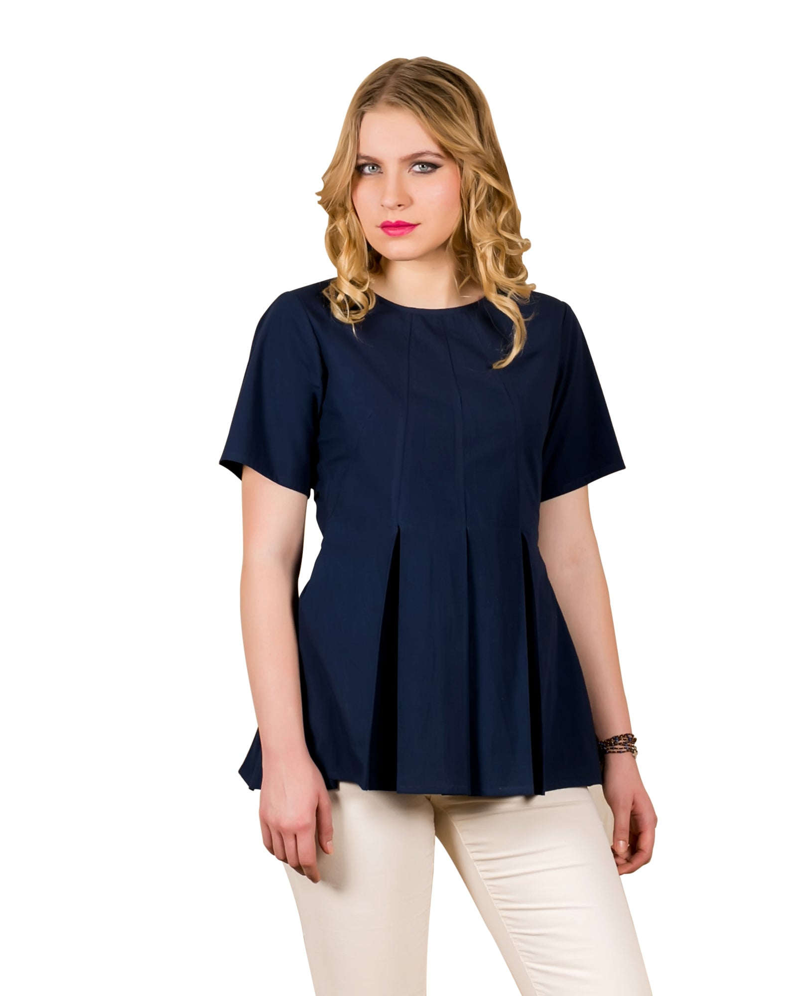 Peplum Style Cotton Indigo Blue Top – Missprint India