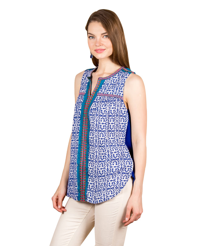 Embroidered Printed Blue Tunic Tops